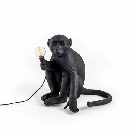 Seletti Table lamp The Monkey black nylon 34x30x42cm