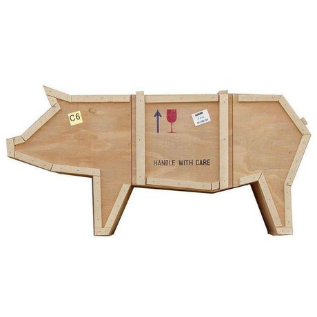 Seletti Cabinet Sending Animals PIG pig brown sloophout 150x44x76cm