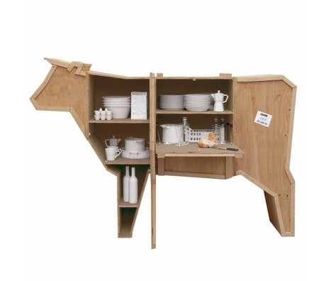 Seletti Cabinet Sending Animals COW cow brown sloophout 225x58x151cm