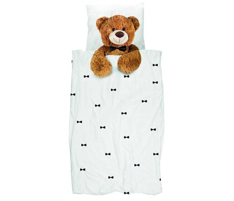 Snurk Beddengoed Kinderbeddengoed Teddy Bear wit bruin katoen 140x200/220cm-60x70cm