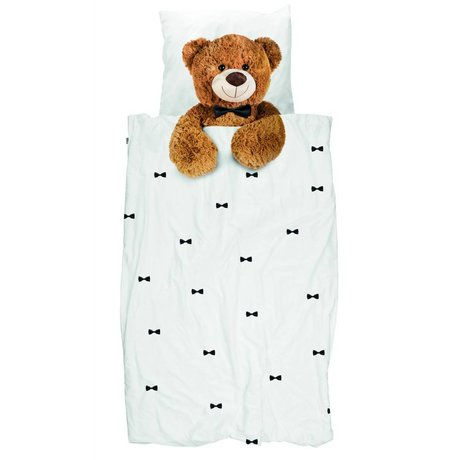 Snurk Beddengoed Children's Well Teddy Bear white brown cotton 140x200 / 220cm-60x70cm