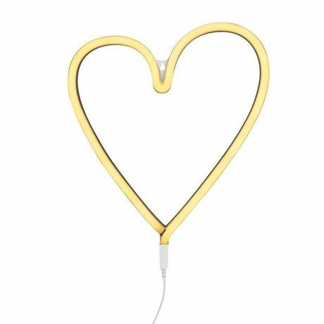 A Little Lovely Company Kinder wandlamp neon hart geel kunststof 29x30cm