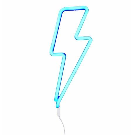 A Little Lovely Company Kinder wandlamp neon bliksem blauw kunststof 41x17cm