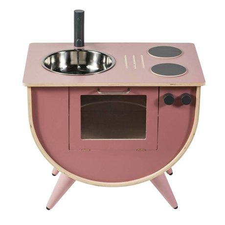 Sebra Speelkeuken roze hout 58x38x50cm