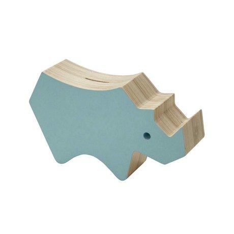 Sebra Spaarspot blauw hout 20,9x5,5x12cm
