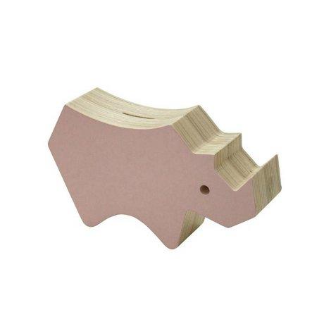 Sebra Spaarspot roze hout 20,9x5,5x12cm