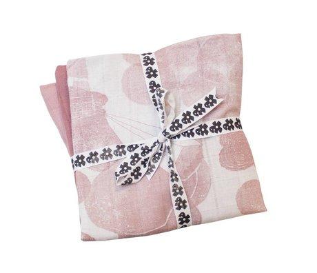 Sebra Hydrofiele doek In the sky set van 3 roze katoen 75x75cm