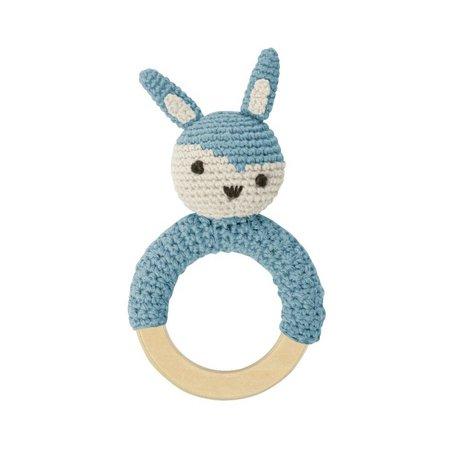 Sebra Rammelaar konijn blauw katoen 15x8cm