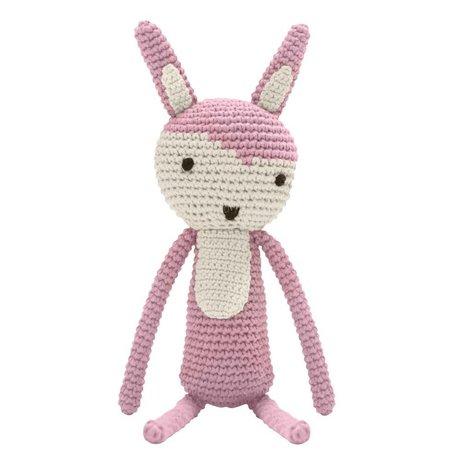 Sebra Knuffel konijn roze katoen 34cm