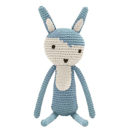 Sebra Knuffel konijn blauw katoen 34cm