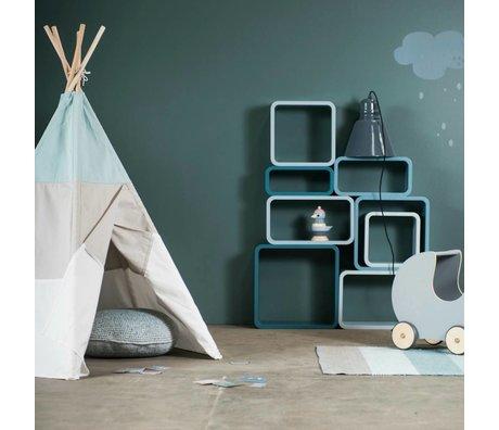 Sebra Kinderopbergbox ovaal set van 4 blauw hout (50x30+45x25+40x20+35x15) x 20cm
