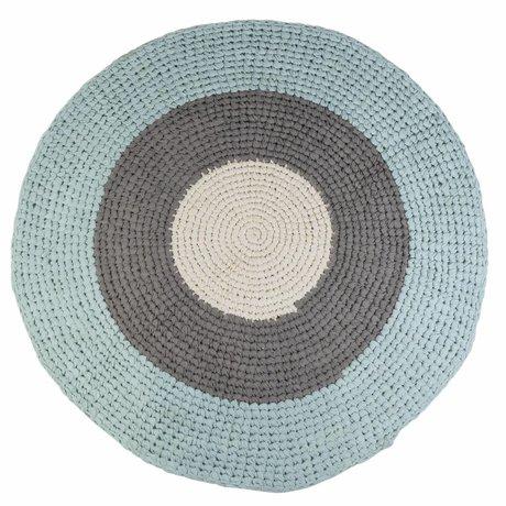Sebra Kindervloerkleed blauw grijs katoen Ø120cm
