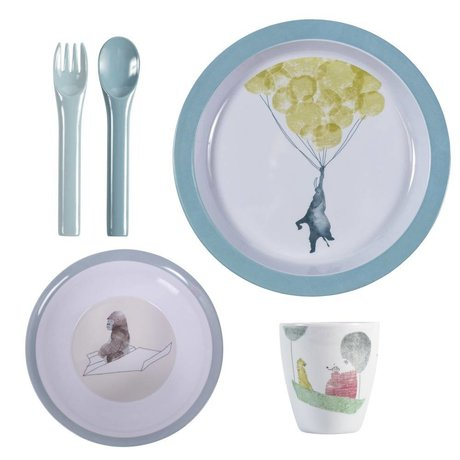Sebra Kinderservies In the sky blauw melamine set van vier