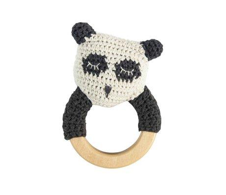 Sebra Rammelaar panda wit zwart katoen hout 13x8cm