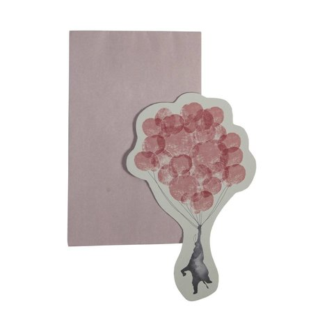 Sebra Wenskaart In the sky roze gerecycled papier 13x16cm