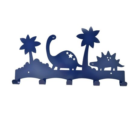 Eina Design Children's Coat Rack Dino blauw metal 40x21,5cm