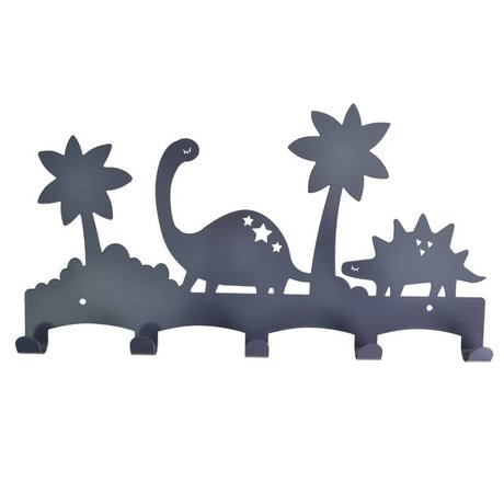 Eina Design Kinder Coatrack Dino anthracite gray metal 40x21,5cm