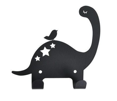 Eina Design Kinderwandhaak Dino zwart metaal 15x15,5cm