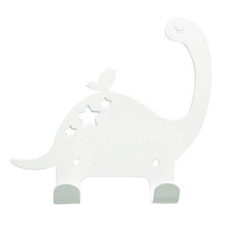 Eina Design Kinderwandhaak Dino wit metaal 15x15,5cm