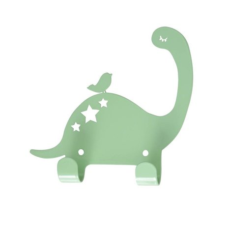 Eina Design Kinderwandhaak Dino mintgroen metaal 15x15,5cm