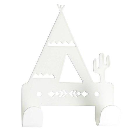 Eina Design Kinderwandhaak Tipi wit metaal 10x14,5cm