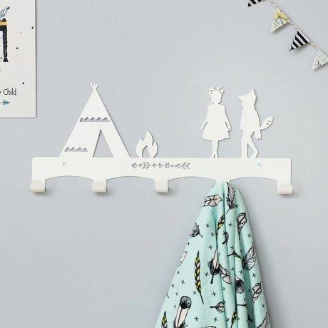 Eina Design Kinderkapstok Tipi wit metaal 40x17cm