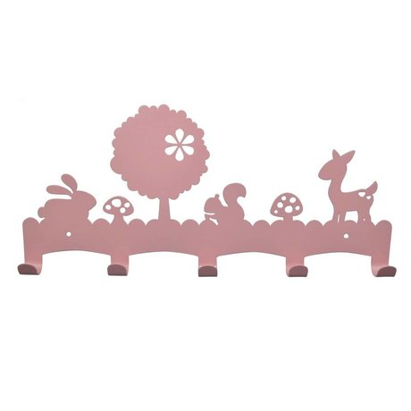 Eina Design Kinder Coatrack Woodland light pink metal 40x19cm