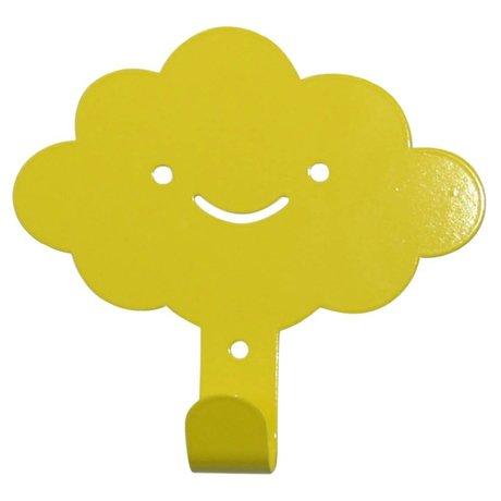 Eina Design Kinderwandhaak wolk geel metaal 14x13cm