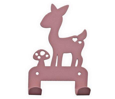 Eina Design Kinderwandhaak hert lichtroze metaal 19x10,5cm