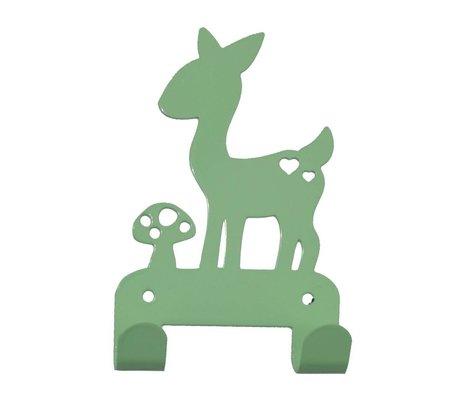 Eina Design Kinderwandhaak hert mintgroen metaal 19x10,5cm