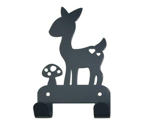 Eina Design Kinderwandhaak hert grijs metaal 19x10,5cm