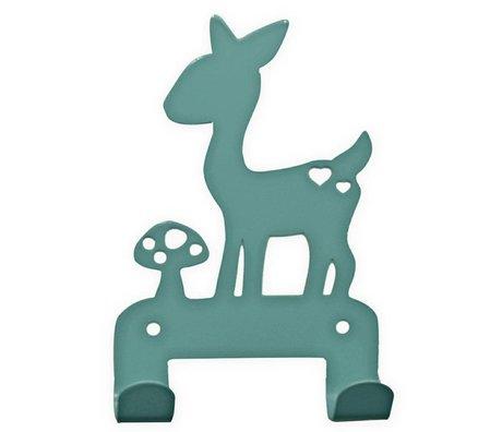 Eina Design Kinderwandhaak hert blauw metaal 19x10,5cm