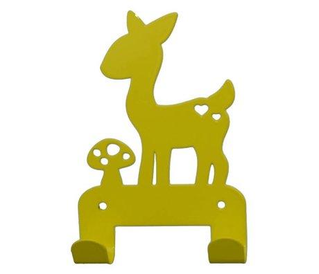 Eina Design Kinderwandhaak hert geel metaal 19x10,5cm