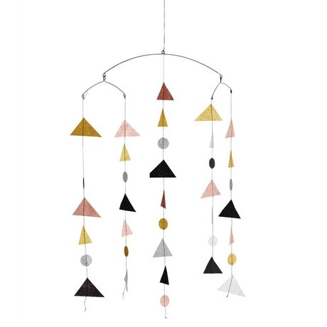 Madam Stoltz Kindermobile Triangle glitter multicolour papier 27x20x100cm