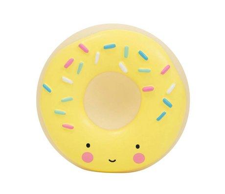 A Little Lovely Company Spaarpot Donut geel kunststof 14x6x14,5cm