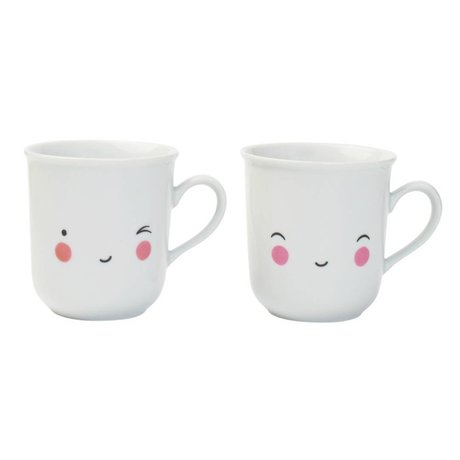 A Little Lovely Company Tea cups Thirst tea Happy white porcelain set of two 9,5x8x7,5cm