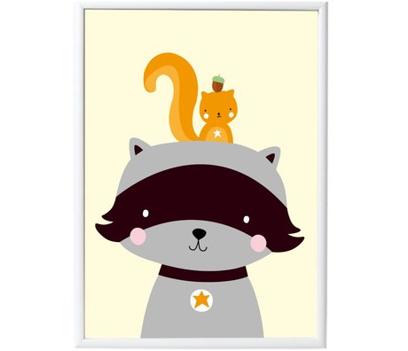 A Little Lovely Company Poster Racoon&Co papier 50x70cm
