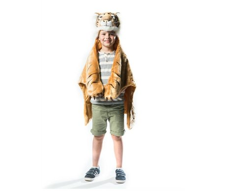 Wild and Soft Kindervermomming Tijger oranje bruin wit textiel 98x119x18cm