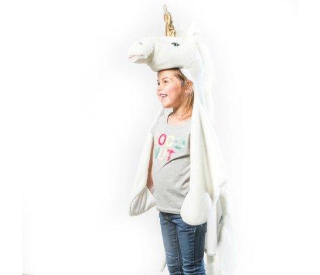 Wild and Soft Kindervermomming Eenhoorn wit goud textiel 102x116x24cm