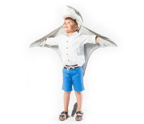 Wild and Soft Kindervermomming Haai grijs wit textiel 102x116x24cm