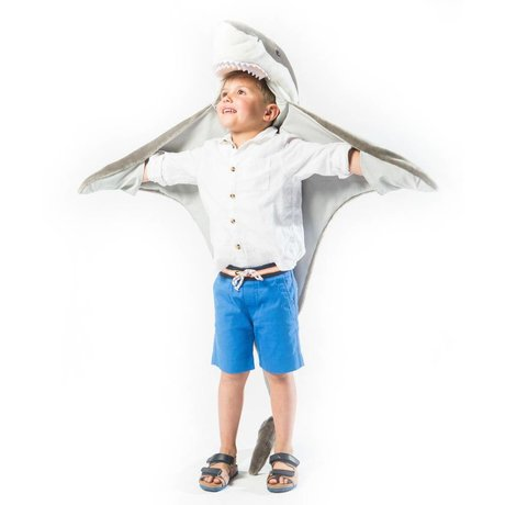 Wild & Soft Kindervermomming Haai grijs wit textiel 102x116x24cm