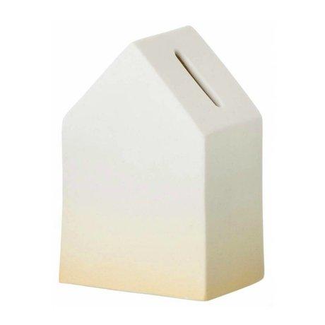 Ferm Living kids Kinderspaarpot wit/geel porselein House of Money 5,5x12cm