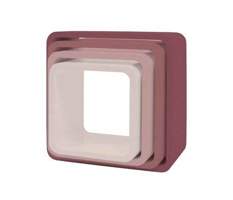 Sebra Kinderopbergkubus set van 4 roze hout (43x43+38x38+33x33+28x28) x 20cm