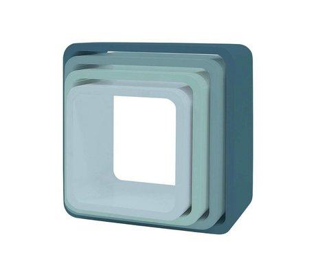 Sebra Kinderopbergkubus set van 4 blauw hout (43x43+38x38+33x33+28x28) x 20cm