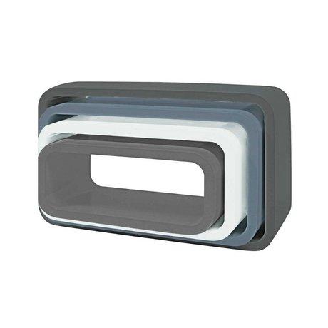 Sebra Kinderopbergbox ovaal set van 4 grijs hout (50x30+45x25+40x20+35x15) x 20cm