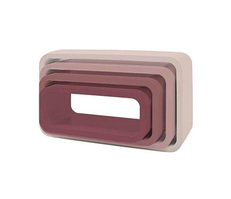 Sebra Kinderopbergbox ovaal set van 4 roze hout (50x30+45x25+40x20+35x15) x 20cm