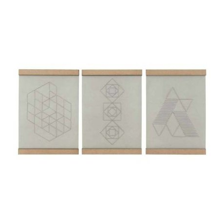 Housedoctor School Embroidery Plate set of three white natural cotton wood 21x30cm