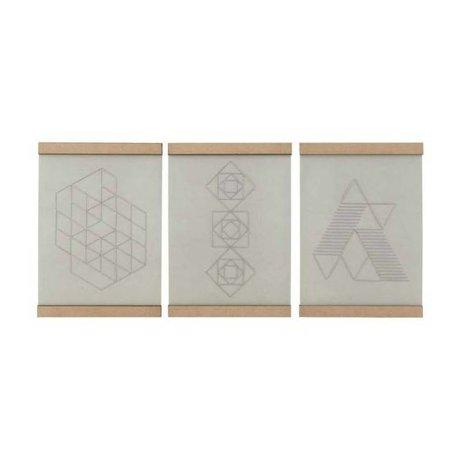 Housedoctor Schoolplaat Embroidery set van drie wit naturel katoen hout 21x30cm