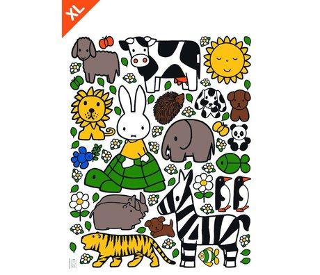 KEK Amsterdam Muursticker Nijntje dierenvriendjes multicolour vinylfolie XL 95x120cm