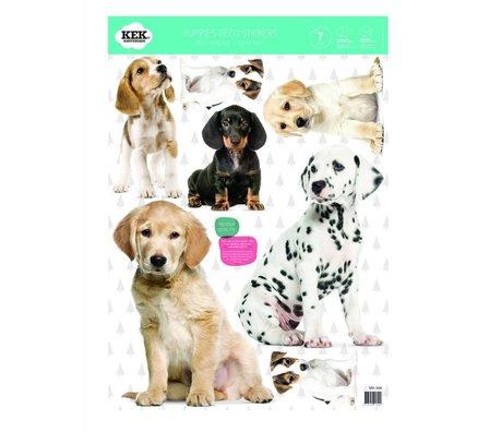 KEK Amsterdam Muursticker Set puppies multicolour vinylfolie 42x59cm